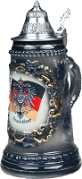 Beer Steins by King - Black German (Deutschland) Flag and CoA German Beer Stein (Beer Mug) 0.5l