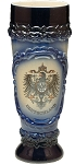 Beer Mug by King - Deutschland (Germany) Shield  Authentic German Wheat Beer Cup Blue 0.5l