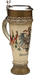 Beer Mug by King - Deutschland (Germany)  Authentic German Wheat Beer Cup Brown With Lid 0.5l