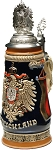 Beer Stein by King - German Monarchy Eagle Relief Beer Stein (Beer Mug) 0.5l pewter eagle CoA Lid