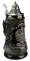 Beer Stein by King - Old German Petwer Coat of Arms Black Lozenge 0.5l