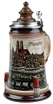 Beer Stein by King - Munich City Skyline with Wood Lid German Beer Stein (Beer Mug) 0.5l Limited