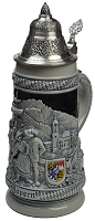 Beer Stein by King - Thewalt 1894 Bavaria Relief German Beer Stein (Beer Mug) .5l Stone Gray Limited