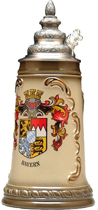 Beer Mug by King - Bayern (Bavaria) coat of Arms Authentic German Beer Stein (Beer Mug) 0.5l