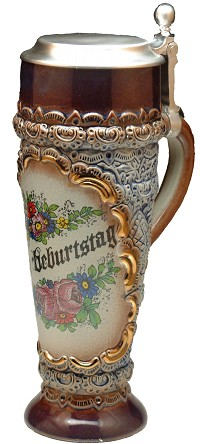 Beer Mug by King - Happy Birthday  zum Geburtstag Authentic German Wheat Beer Mug with Lid 0.5l