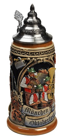 Munic Octoberfest (Muenchen Oktoberfest) Full Relief Authentic German Beer Stein