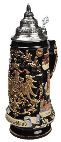 Beer Stein by King - Deutschland Black Golden Eagle Relief Beer Stein (Beer Mug) .75l Limited