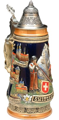 Beer Mug by King - Switzerland And Landmarks Full Relief Authentic German Beer Stein (Beer Mug) 0.5l