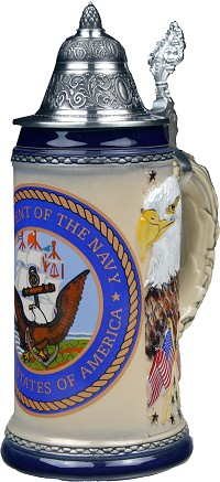 Beer Stein by King - US Navy Coat of Arms Relief Authentic German Beer Stein (Beer Mug) .75l Limited