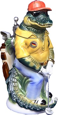 Beer Stein by King - Collectors Edition 3D Crocodile Golfer 2008 German Beer Stein Limited