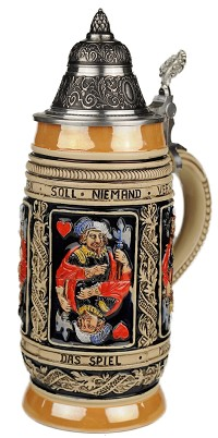 Beer Stein by King - Thewalt 1894 Card Players Relief German Beer Stein (Beer Mug) 0.5l Limited