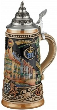 Beer Stein by King - Licensed Munich Hofbrauhaus HB relief stein 0.5l Limited Edition