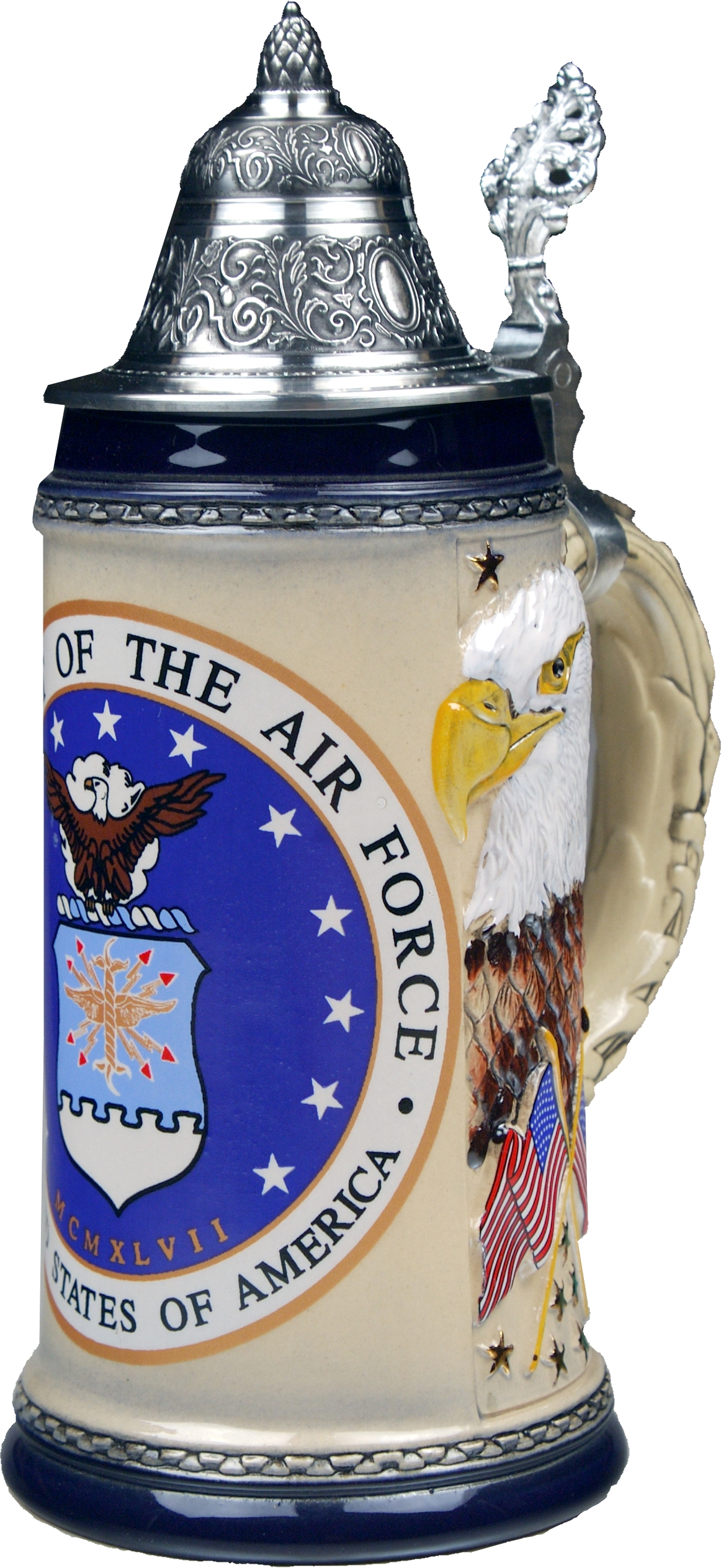 Beer Stein by King - US Air Force Coat of Arms Relief Authentic German Beer Stein 0.75l Limited