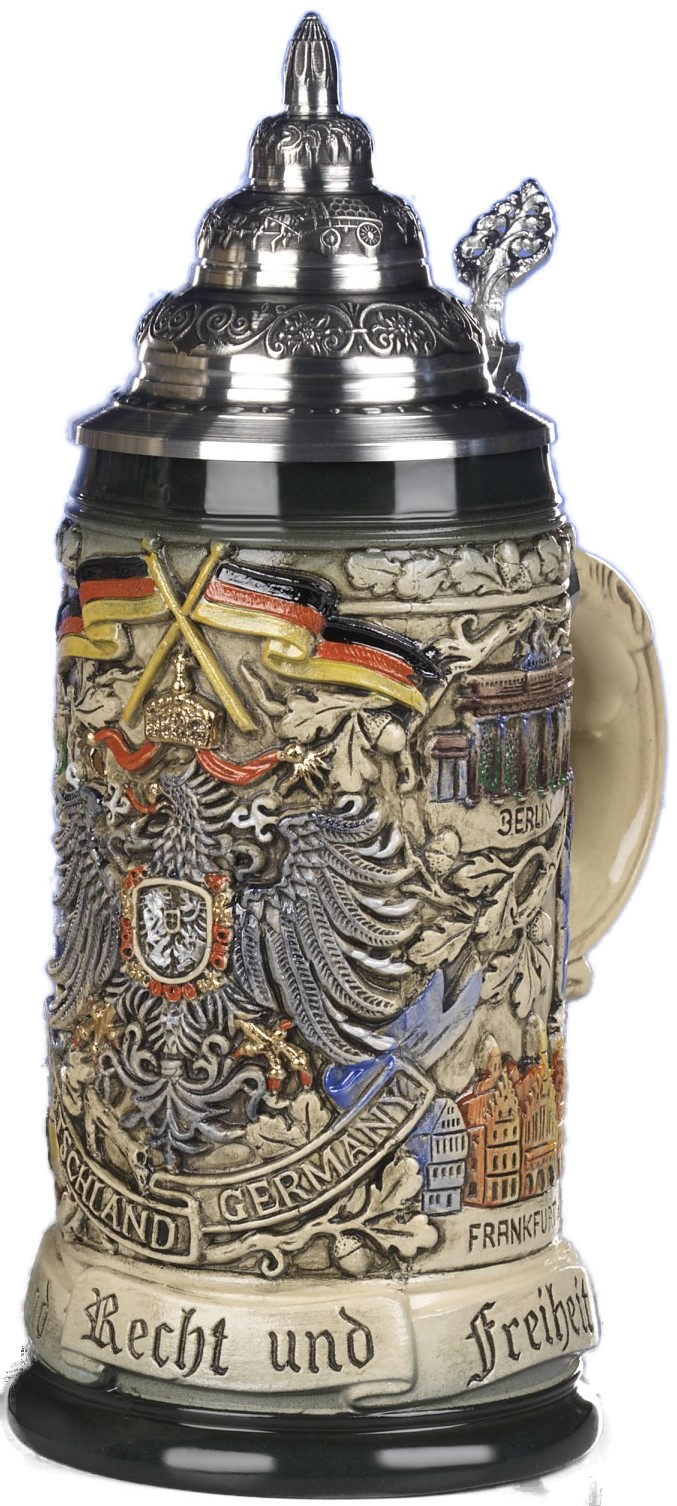 Beer Steins By King - Deutschland German Coat of Arms Beer Mug 0.5l Rustic